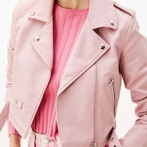 Bershka light pink leather jacket